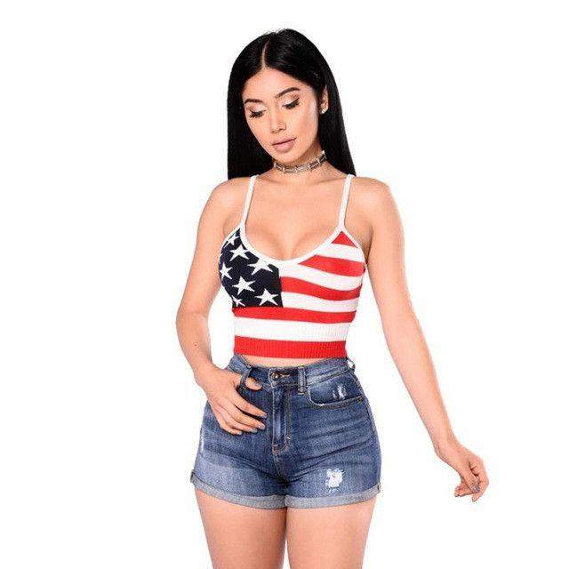 American Flag Mini Strapless Undershirt, Sexy Sleeveless, Summer Style