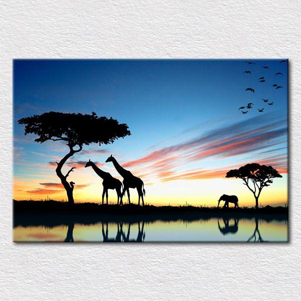 tuval baskılar Afrika sul yapmak sanat resim Afrika zürafa günbatımı oturma odası ya kanepe duvar ücretsiz nakliye