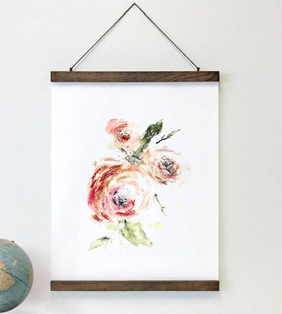 Fine art print - Abstract floral art framed and ready to hang. #farmhouse #abstractflowers #blushpinkrose #floralart #roses