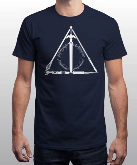 """""""The Geeky Hallows"""" is today's £8/€10/$12 tee for 24 hours only on www.Qwertee.com Pin this for a chance to win a FREE TEE this weekend. Follow us on pinterest.com/qwertee for a second! Thanks:)"""