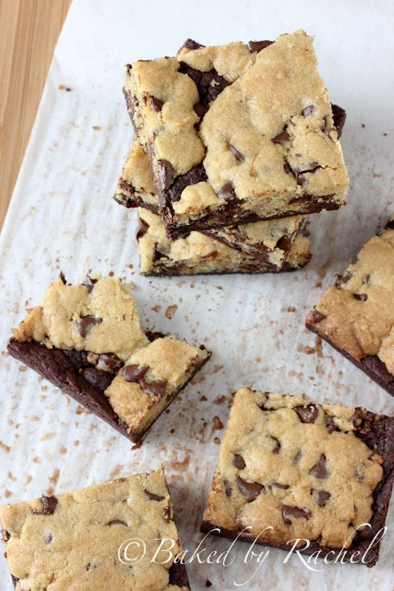 Chocolate Chip Cookie Brownie Bars Recipe - bakedbyrachel.com