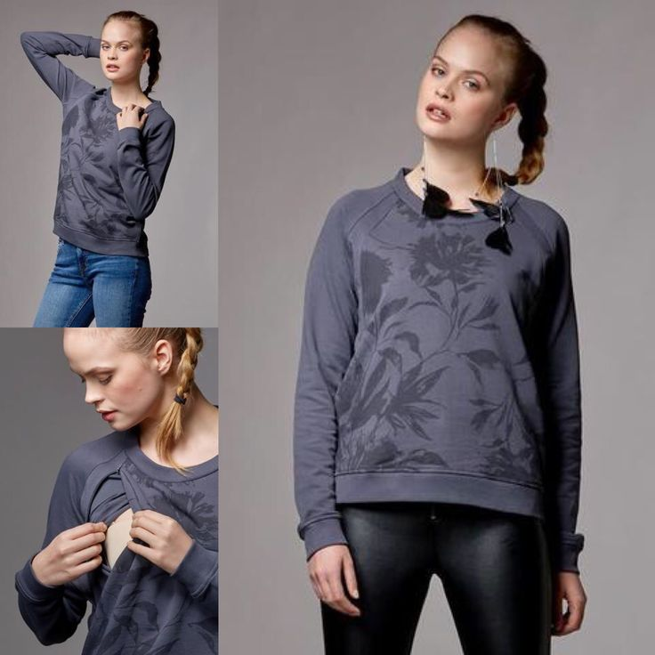 Maternity long sleeve sweatshirt with completely hidden nursing access. Discreet, invisible zips at the armholes and a hidden inner panel underneath. The front is printed in a tonally darker floral design. Made from soft and stretchy organic cotton sweatshirt jersey that keeps its shape wash after wash.  Model is 5' 10/178cm tall and is wearing a size S.