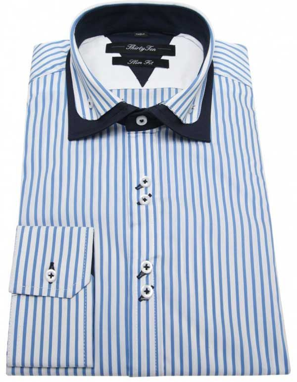 Riccardo - Double Collar Striped Shirts for Men