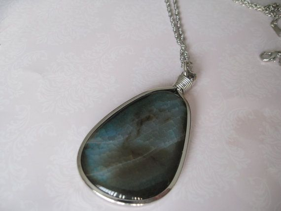 Natural Gemstone Pendant Necklace Silver Plated Chain by maylui