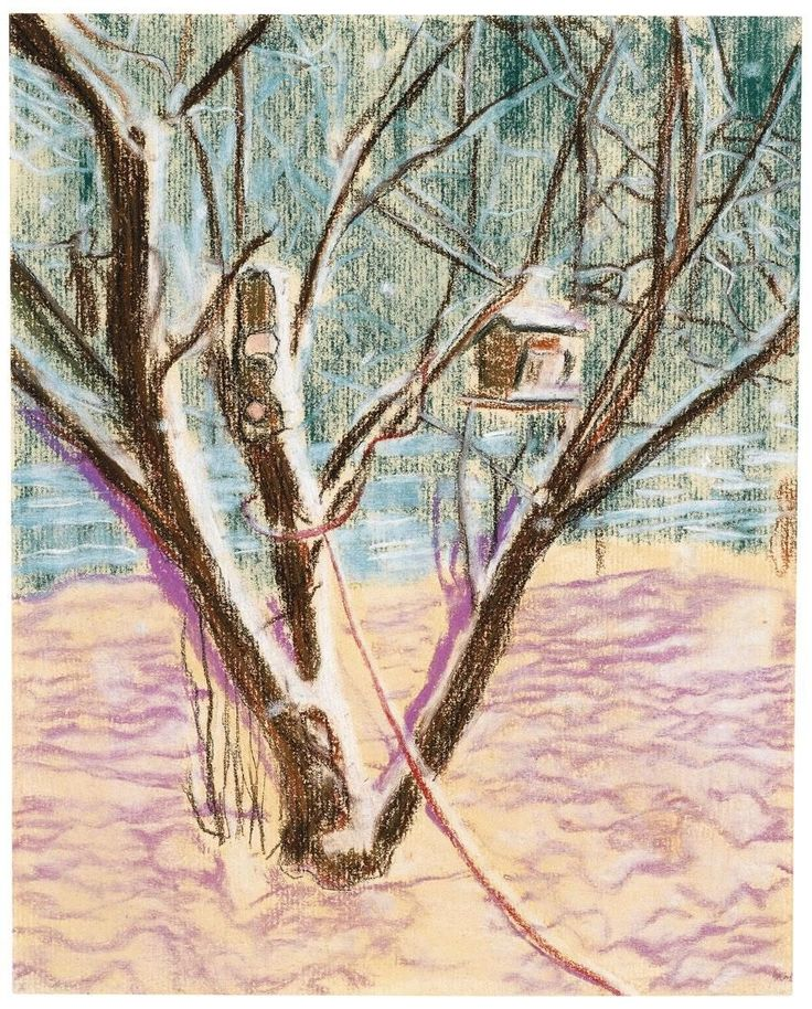 Peter Doig - BIRDHOUSE, pastel on paper.
