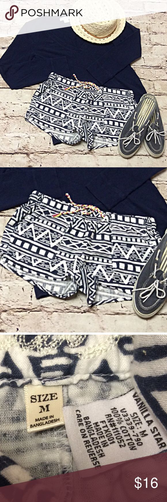 VANILLA STAR AZTEC PRINT SHORTS These are great for lounging or for the beach over your swimsuit. Very soft cotton with a drawstring waist. Navy and white Vanilla Star Shorts