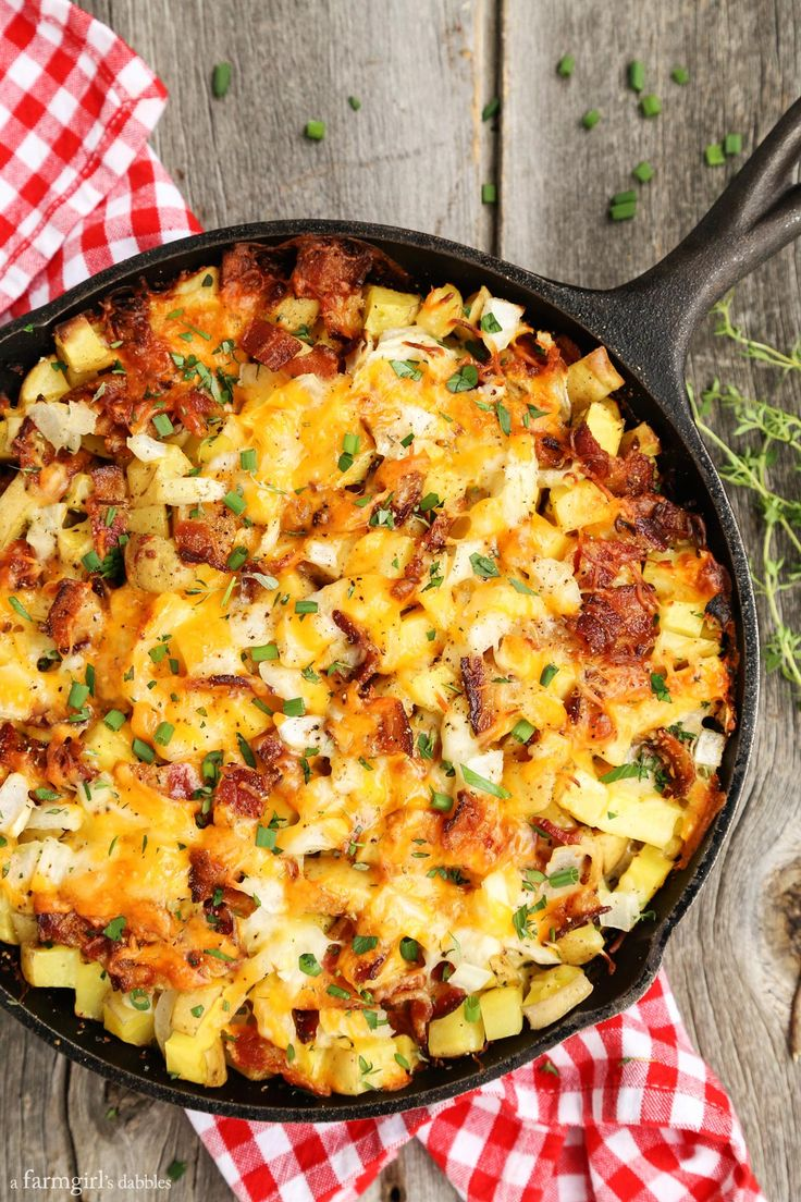 This recipe for Cheesy Grilled Skillet Potatoes with Bacon and Herbs has quickly become a family favorite!