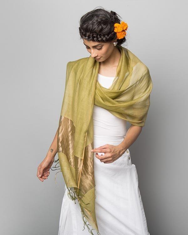 NICOBAR Chanderi Wrap - Leaf Green