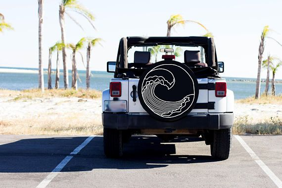 Beach Wave Design Tire Cover Beach Tire Cover Custom Tire Cover Jeep Tire Cover Women S Car Accessory Beachy Tire Accessory In 2020 Jeep Tire Cover Custom Tire Covers Jeep Wrangler Accessories