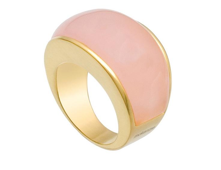 McKenzie - Anillo de plata bañado en oro amarillo, con cuarzo rosa.