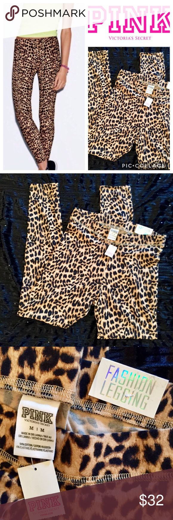 "🆕🎁 Victoria's Secret PINK Cheetah Leggings NWT Victoria's Secret PINK Cheetah Animal Print Fashion Leggings  Brand New With Tags  Full Length  Size: Medium  Inseam: 26"" Material: 94% Cotton, 6% Elastane 🎁 Great Gift Idea! 🎁 Smoke Free Home  🛍 Bundle And Save! 🛍 PINK Victoria's Secret Pants Leggings"