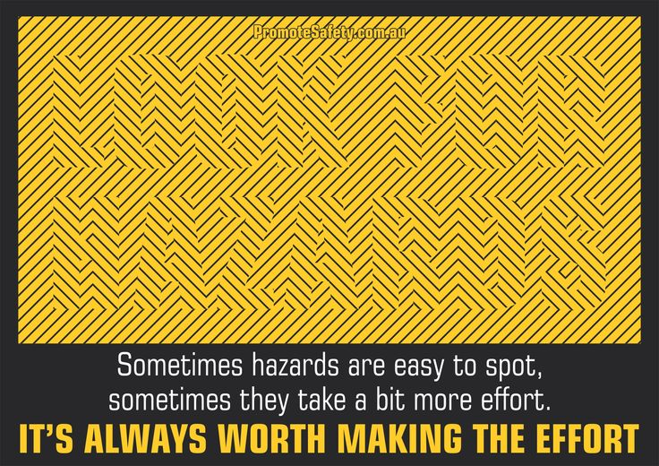 Workplace Safety and Health Slogan - Look for the Hazards. (Can you see what it says?)