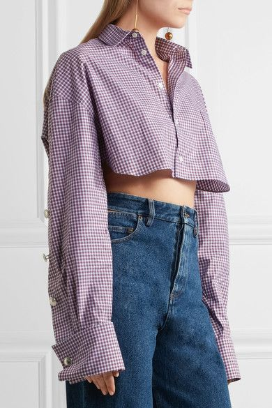 Y/PROJECT - Cropped Checked Cotton-poplin Shirt - Blue - FR