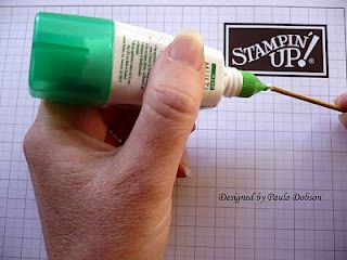 Finally!  A tool for tiny pieces: Tombow Multi Glue and a wooden skewer. Put a drop of glue on the end of your skewer and leave it to dry.   Because Tombow is repositional when dry, this will enable you to pick up those pesky little pieces.