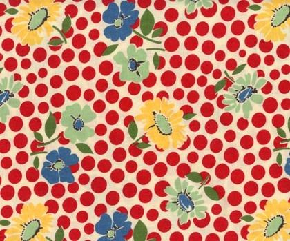 School Days Retro Flower Spot Red Cotton Fabric by Moda