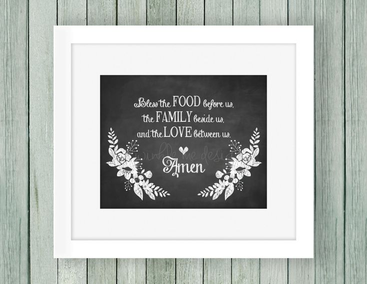 Bless The Food Before Us Printable Instant Download Home Decor Prayer Family Dining Room ArtKitchen