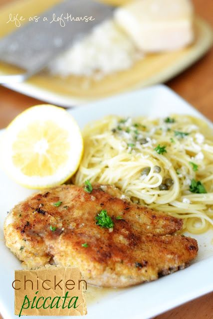 Chicken Piccata 2 boneless, skinless Chicken breasts, cut in half lengthwise, to form 4 thin cutlets 1 cup Italian style bread crumbs 1 egg, beaten 4 Tablespoons butter 1/4 cup fresh lemon juice 1 cup chicken stock 1/4 cup brined capers, rinsed 1/4 cup fresh parsley, chopped 8 ounces Angel hair pasta 2 Tablespoons butter 1/2 cup freshly grated Parmesan cheese