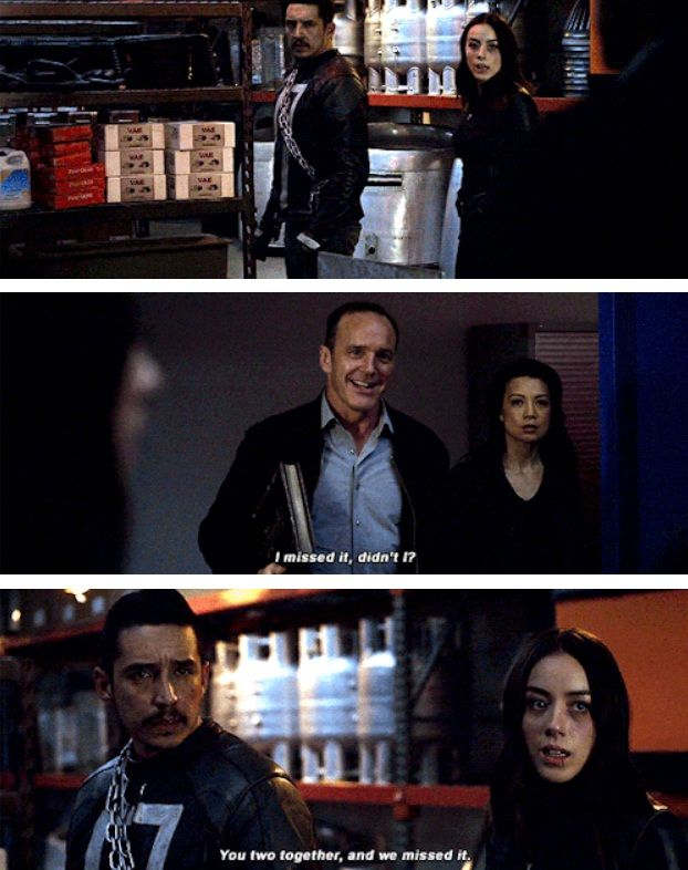 "Coulson: I missed it, didn't I? You two together and we missed it. #Marvel Agents of S.H.I.E.L.D. #AoS #AgentsofSHIELD 4x22 ""World's End"""