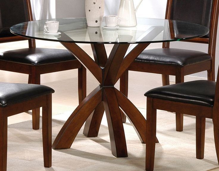 dining room simple round glass top tables with wood base