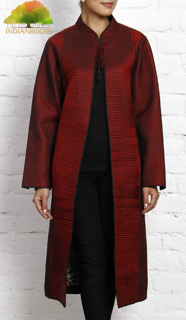 Maroon Quilted Silk Jacket by Vedanta at Indianroots.com