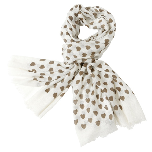 Cashmere Scarf - Heart Print