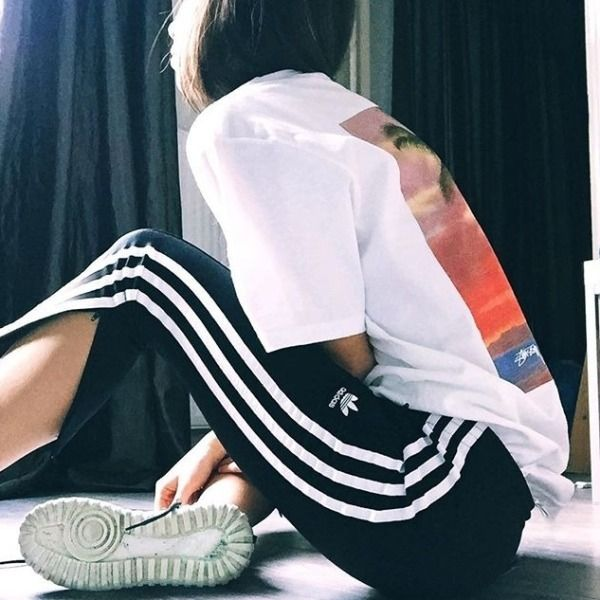 UOonYou via @m_dominici | Stussy Isle O'Dreams White T-shirt | Men | Tops | Graphic Tees | adidas Originals 3-Stripe Cigarette Track Pants | Women | Bottoms | Trousers