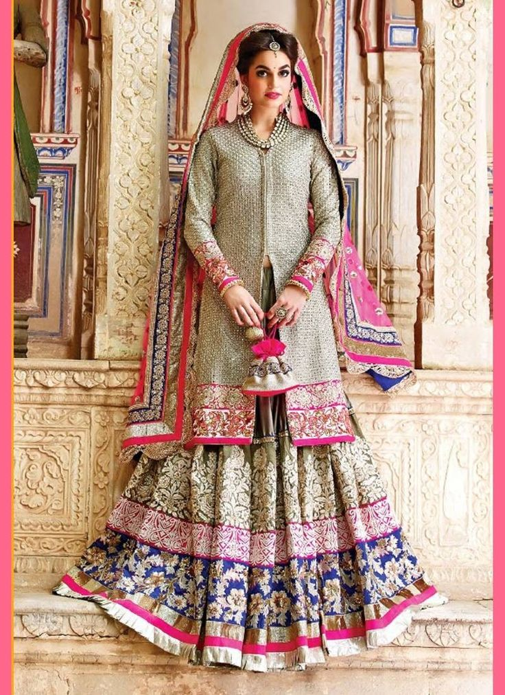 Multi Colour Peach georgette tussar jacket Bollywood Salwar Kameez