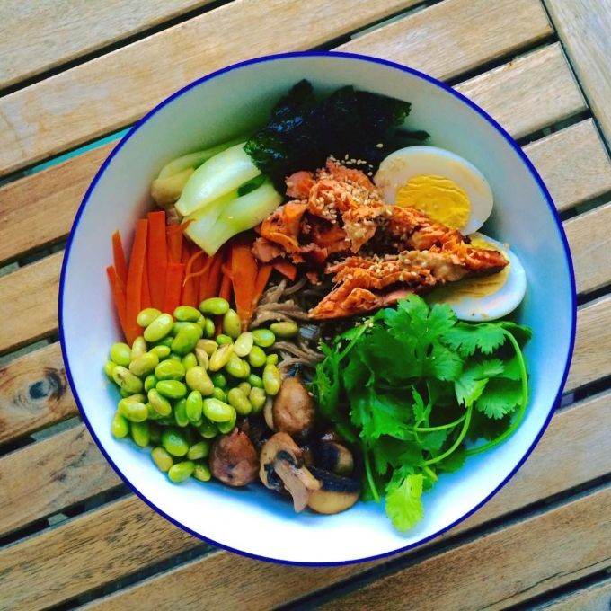 Sesame Soba Bowl with Salmon. This colourful bowl is packed with vitamins, protein and, most importantly, flavour and the sesame sauce is truly amazing.  - See more at: http://www.apurefoodkitchen.com/sesame-soba-bowl-with-salmon/