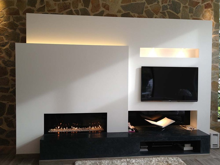 1000+ images about Fireplaces  Cheminées on Pinterest -> Amenagement Poele Avec Tv