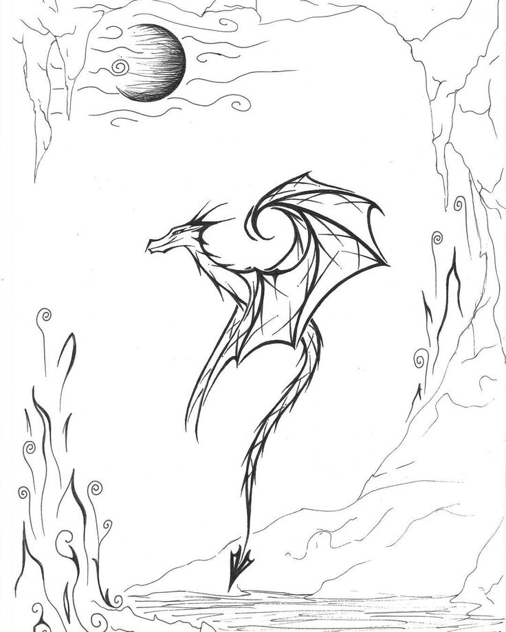 "D.Art (@d.art._)  #sketchbook #drawing #art #blackandwhite #instart #dragon #illustration #sketch  #moon #tattoo"""