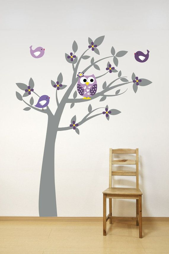 Tree Wall Decal  Owl Decor  Playroom Decor  Playroom by LucyLews, $75.00