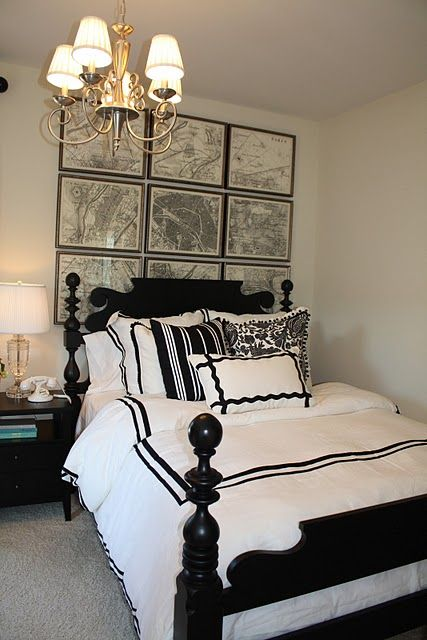 Black And White Bedding Transitional Bedroom