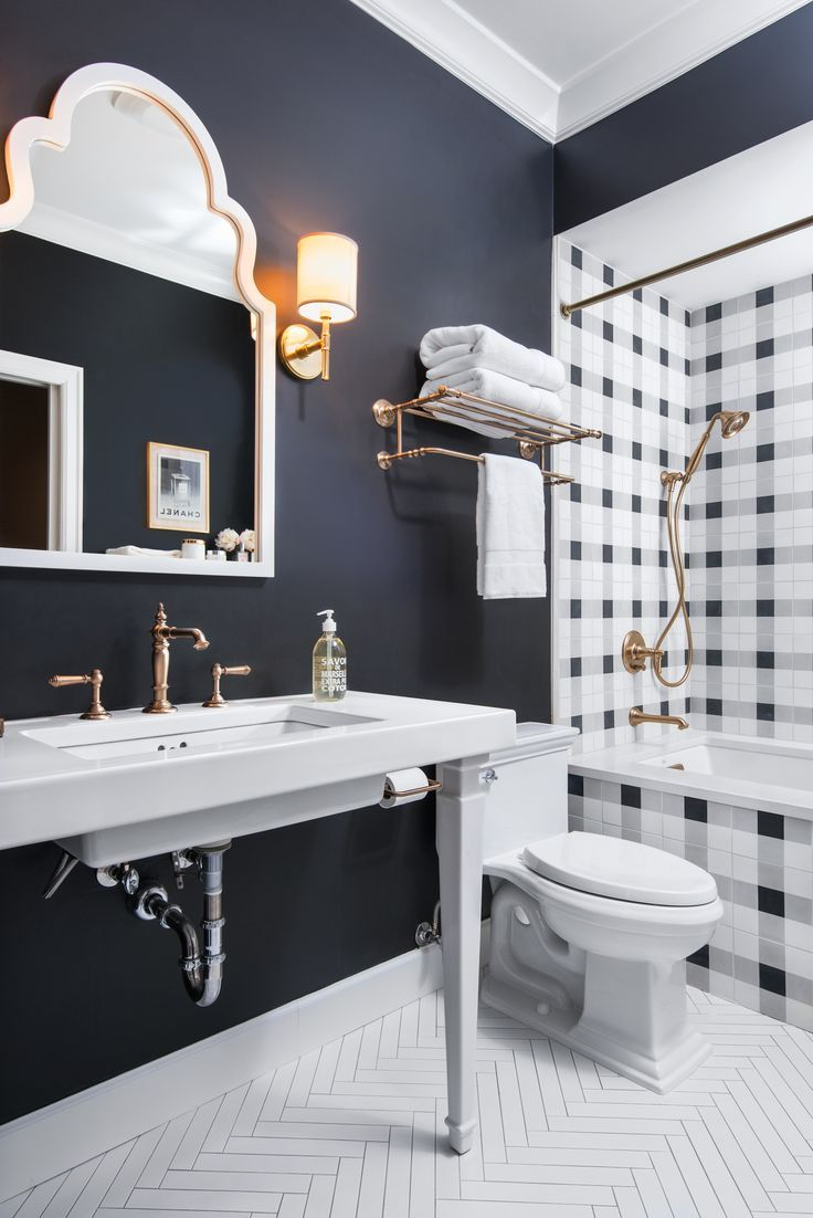 938 best bathrooms images on pinterest bathroom ideas room and high contrast bath with bugfalo check inspired tile navy bathroom black
