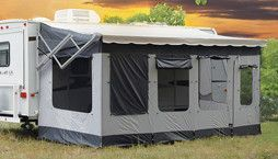 The 20' Vacation'r fits traditional and 12 volt awnings with vertical arms. There are no poles, rafters or permanent fasteners to attach to your coach. The Vacation'r's innovative design works seamles