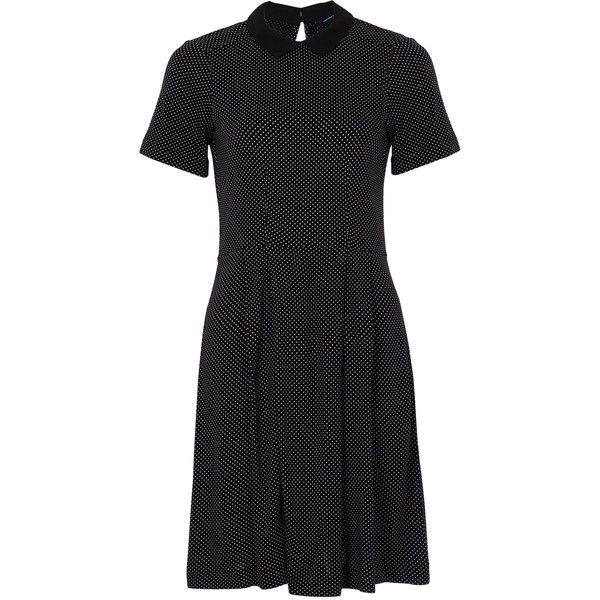 French Connection Polka Dot Tea Dress, Black/White ($80) ❤ liked on Polyvore featuring dresses, black and white maxi dress, short sleeve maxi dress, french connection dresses, pleated maxi dress y flare dress