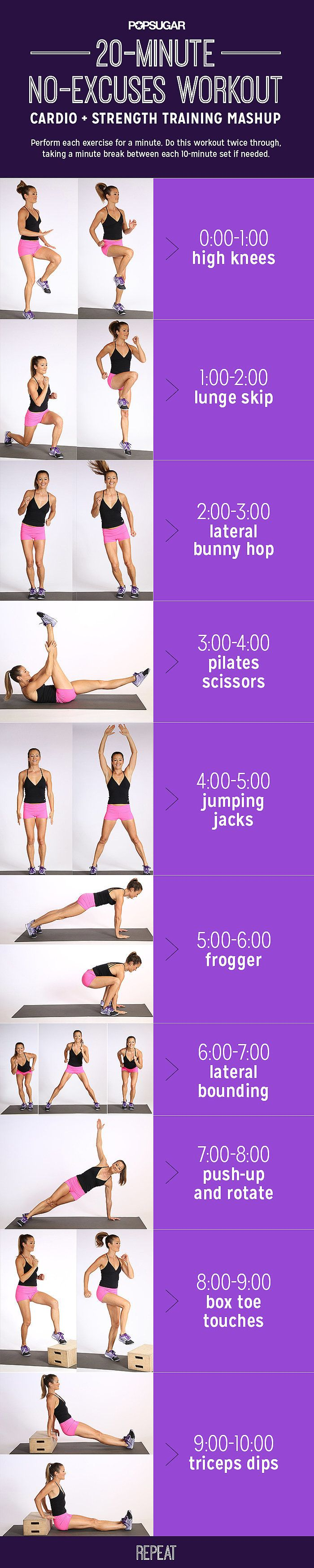 It doesn't get simpler than this. A 20-minute that requires no equipment whatsoever. It also combines cardio with strength training meaning your done and done!