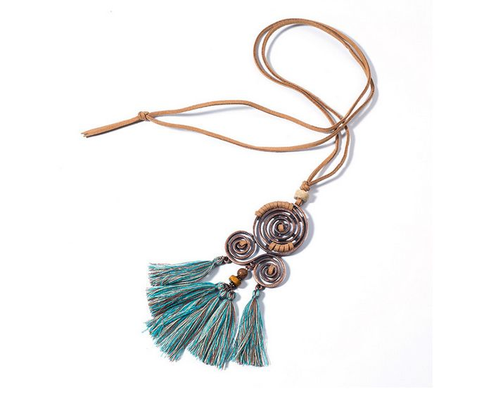1x Vintage Ethnic Tassel Pendant Necklace Choker Long Leather Sweater Rope Chain