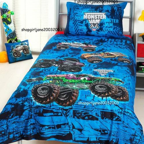 Monster Jam trucks Mash Grave Digger DoubleFull Bed Quilt Doona Duvet Cover Set  Redecorating