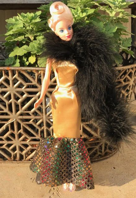 Barbie Clothes/Barbie Gown Gold Strapless Barbie Doll Ball Gown with Feather Boa by BarbieOnFleek on Etsy