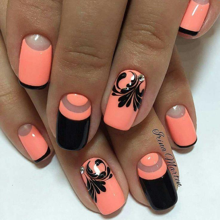 ..black and orange nail art..