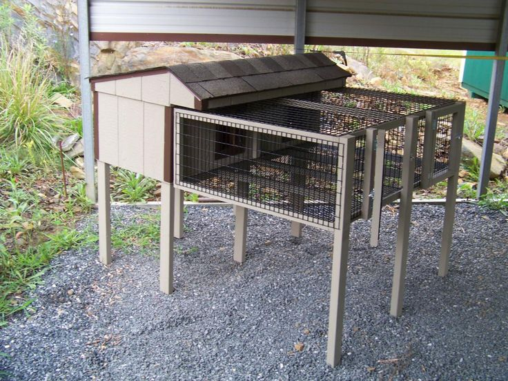 Double Rabbit Hutch: note try to make a removable panel so that they connect. Make breeding easier. Roof lift up and top wire panel lift up as well. Complete access.
