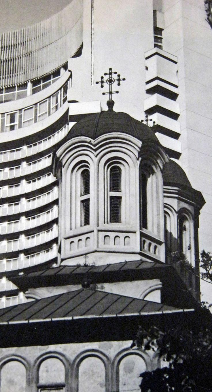 Biserica Enei, demolata la pachet cu blocul Dunarea, proiectata pe fundalul Intercontinentalului, in prima jumatate a anilor 70. foto: George Serban