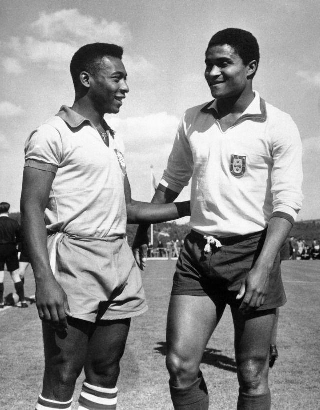 Eusebio and Pele #soccer #brazil #benfica #santos #portugal