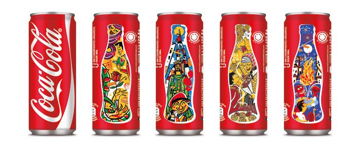 Can designs promoting the famous festivities of Catalan.  The brand design agency of Publicis Groupe, has created a memorable collectible series of Coca Cola Sleeks for sale in Out of Home market, including the Light and Zero varieties.