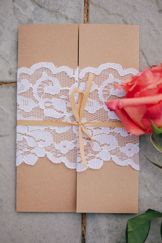 @Carrie Mcknelly Shirk this might work for shower invites?   Brown Wedding Invitation With Lace Wrap