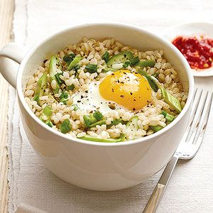 7 Surprising Things You Can Make in the Microwave: Spring Fried Rice with Asparagus (via Parents.com)