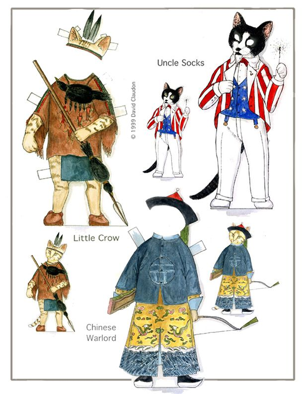 Clarence's Eight Lives- a cat paper doll in watercolor by David Claudon    .