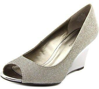 Bandolino Tuff Love Women Open Toe Canvas Silver Wedge Heel.