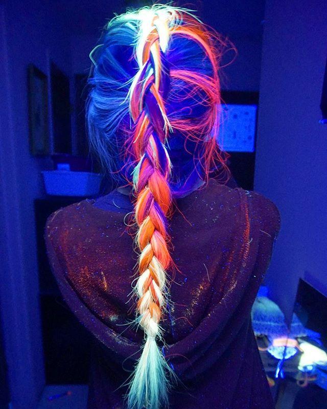 Black light rainbow dutch braid (Lol at the dye all over my hood)