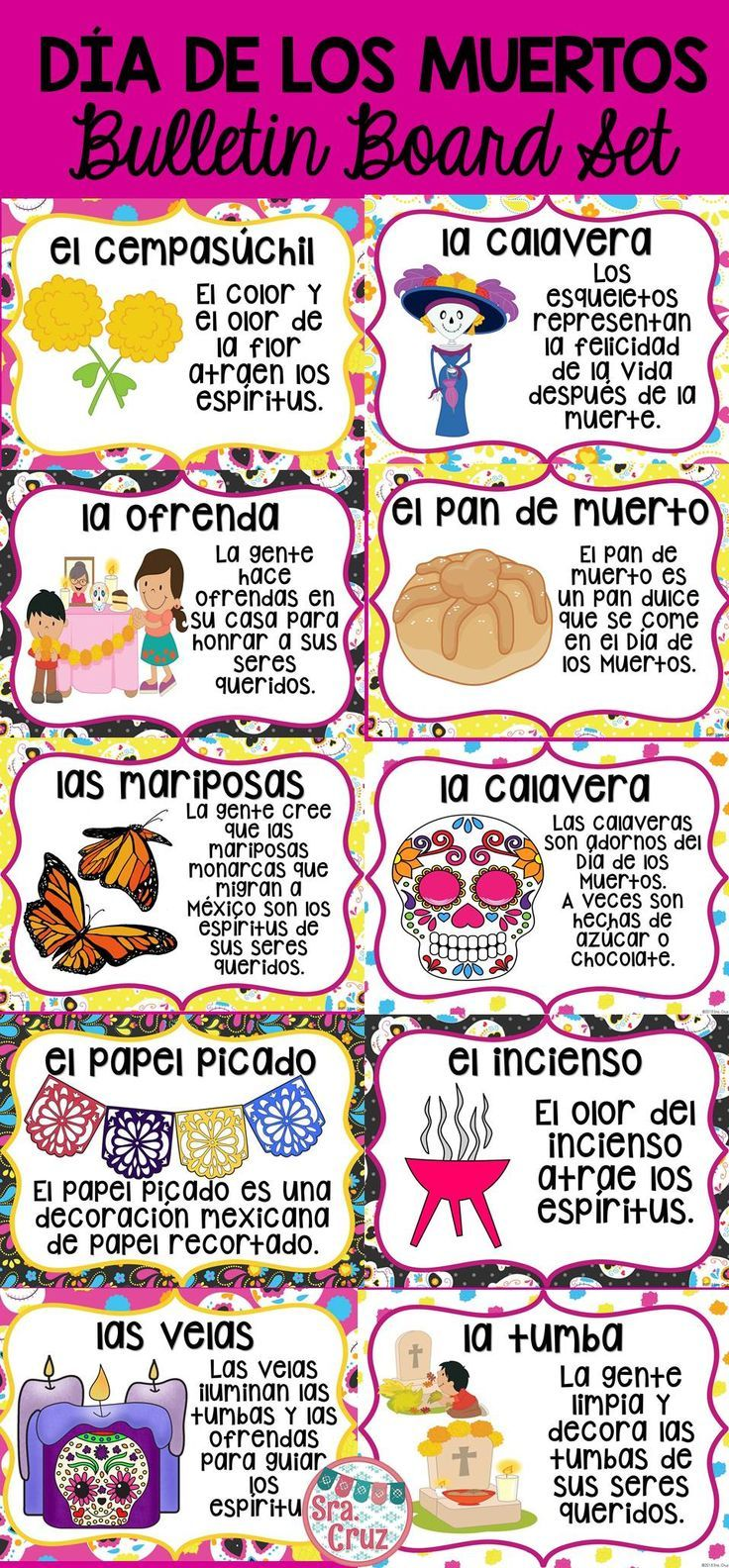 Día de los Muertos Bulletin Board Set.  Includes 12 pages and a bulletin board header.  Spanish version and version with word and image only.